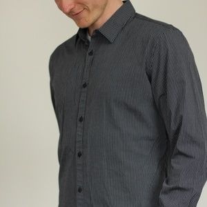 Calvin Klein Gray and Black Striped Button-up